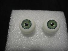 VINTAGE IMSCO PUPPENAUGEN ROUND GREEN DOLL EYES 22MM CRYSTAL LENSES NEW