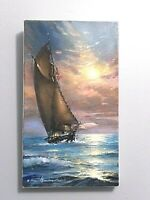 NEW! ORIGINAL OIL SEASCAPE MARINE PAINTING FRESH 2020 SIGNED 13 5/8 x 7 7/8 in