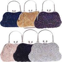 Wedding Womens Bags Evening Handbags Vintage Clutch Purse Sequins Beads Pearls