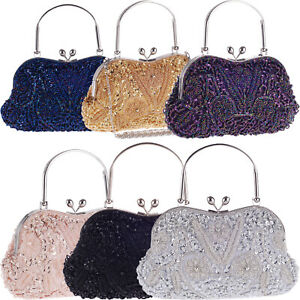 Wedding Womens Bags Evening Handbags Vintage Clutch Purse Sequins Beads Pearls