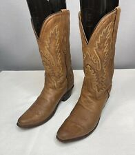 Old West Leather Boots Western Cowgirl Antique Tan Snip Toe LF1529 Women's 8.5 M