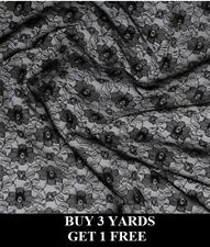 Black Budget Lace Flowers Floral Net Stretch Crafts Dress-making Fabric Material