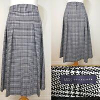 M&S Black White Dogstooth Pleated Skirt Size 12 Kilt Check Pockets Vintage Style