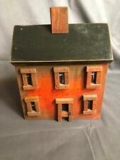"Primitive Wooden Handmade Birdhouse House Black & Maroon 11"" x 8"" x 5 1/2"" rd"