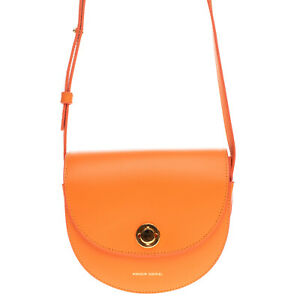 RRP€510 MANSUR GAVRIEL Leather Crossbody Bag Turnlock Flap Closure Made in Italy