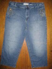 BABY PHAT Denim CAT Rhinestone  Starburst Capri Jeans PLUS 20