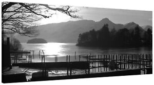 Lake District Landscape Derwent Jetty Panorama Canvas Print Wall Art Picture