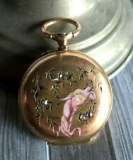 Fine Art Nouveau Gold 18K Enamel Woman Rose Cut Diamonds Fob Pocket Watch Case