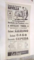1986 Cartel Plaza de Toros Sevilla Fernando Cepeda Rafael Camino Rafael Gago