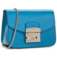 NWT Furla Metropolis Mini Leather Crossbody Bag Ceruleo/Blue 884887