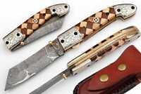 Damascus steel blade POCKET KNIFE, FOLDING KNIFE, rose&olive wood HANDLE
