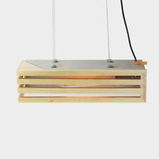Modern Contemporary Minimal wood Timber Concrete Rectangular Pendant light