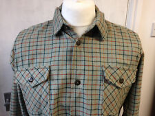 Wool check work shirt overshirt in soft green, unworn vintage stock, all sizes