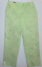 Womens 8 Brooks Brothers Stretch Green Cotton Spandex Pants Goldfish Lined Fish
