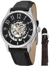 Stuhrling 746L 02 Delphi Solaris Automatic Skeleton Leather Strap Mens Watch Set