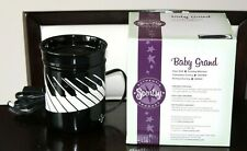 RETIRED Scentsy Full Size Wax Warmer BABY GRAND Piano Black White BRAND NEW