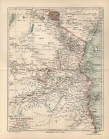 DEUTSCH-OSTAFRIKA östliche Hälfte DOA   Kolonien LANDKARTE 1894