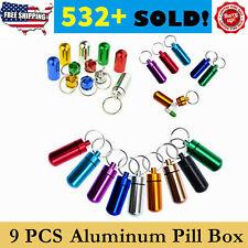 Waterproof 9pcs Aluminum Pill Box Case Bottle Drug Holder Keychain Container