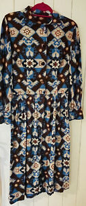 Vintage 1970 Aztec Long Button Up Shirt Dress 10-12