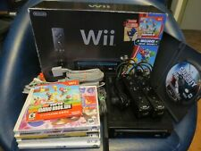 Nintendo Wii Super Mario Bros Black Console edition with games bundle