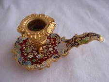 ANTIQUE FRENCH ENAMELED GILT BRONZE CHAMBER CANDLE HOLDER,LATE 19th CENTURY