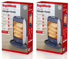 2x SupaWarm Oscillating Halogen Heater 1200W - 3 Heat Settings
