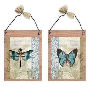 Butterfly & Dragonfly Pictures Paris Teal Blue Butterflies Wall Hangings Plaques