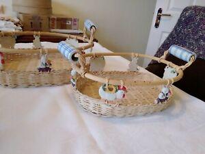 2 Nesting Baskets With Ceramic Handles