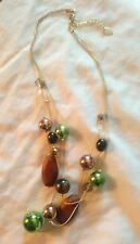 Betty Jackson black green faux pearl and wooden bead necklace