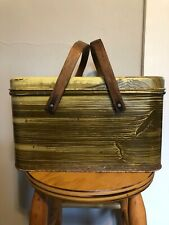 Vintage Metal Faux Wood Picnic Basket Tin With Handles
