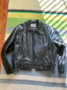 Aero Leather Co Black Horse-hide leather CHIPs Motorcycle jacket size 46