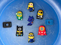 Minions Lot Of 7 Shoe & Bracelet Charms + 2 Lace Adapters