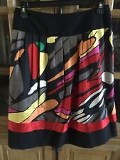 NYGARD COLLECTION sz 10 /Print Lined Pleated Bright Fun 100% Silk Skirt