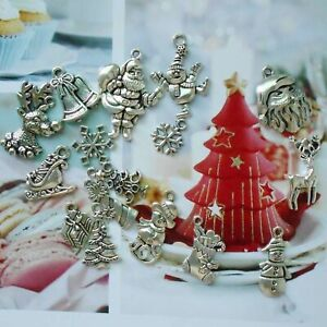 15PC Vintage Silver Alloy Christmas Tree Bell Xmas Charms Pendant Jewelry Making