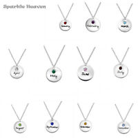 925 Sterling Silver cz crystal birthstone colour charm pendant necklace birthday