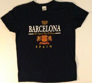 Barcelona spain The Original City Of Dreams Black T-shirt Size Small 24x18 Inche