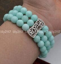 Natural 3 rows 8mm Amazon jade Beads Stretch Tibetan silver Gems Bracelet 7.5''