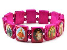 Saint Bead Bracelet Wood Stretch Religious Catholic Icon Jesus Angel Mary Bangle