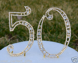 """5"""" Rhinestone Gold Golden Number fifty 50 Bling Cake Topper Birthday Anniversary"""
