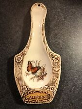 VINTAGE TREASURE CRAFT POTTERY USA CALIFORNIA FLORAL BUTTERFLY SPOON REST 10""