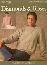 Leisure Arts 475 Diamonds Roses Knitting Patterns Pullover Sizes 32 to 46 1986