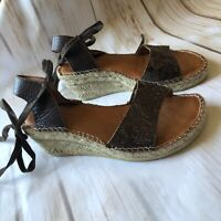 Eric Michael Leather Lace Up Espadrille Wedges Women's Size 6 EU36 Brown Shoes