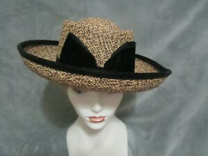 Kokin natural straw with black straw woven in, black velvet band/bow and edging