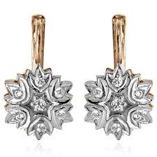 RUSSIAN STYLE DIAMOND EARRINGS 14k 585 Gold F-VS1-2. 0.50 ct.t.w. Diamonds E1207