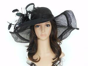 New Church Kentucky Derby Wedding Sinamay Wide Brim Dress Hat cc2963 Black