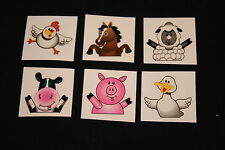 18 x Farm Animal Tattoos Great for Kids Parties or Stocking Fillers