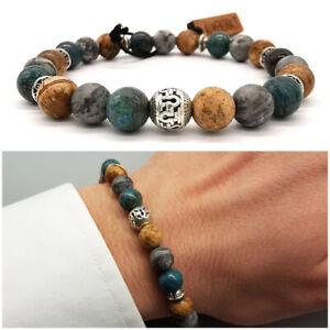 Bracciale uomo pietre dure con agata blu braccialetto da elastico sfere grigio