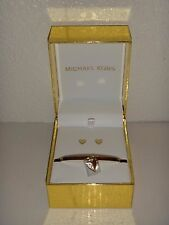 Michael Kors Mkj5973 Rose Gold Lock Pave Charm Hinge Bangle Bracelet MKJ5973791