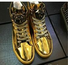 4 Color Men Patent Leather High Top Lace Up Sneakers Casual Bling Shoes Fashion