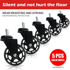 Set of 5 Office Chair Caster Soft Wheels Replacement Heavy Duty Safe with brakes